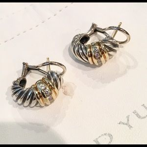 Yurman Shrimp Braid 18K SS Diamond Earrings